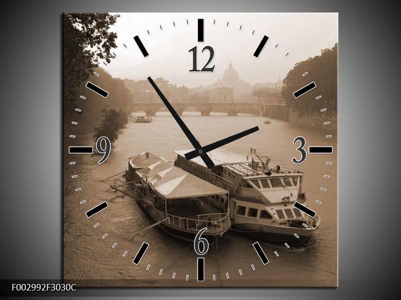 Wandklok op Canvas Boot | Kleur: Grijs, Wit | F002992C