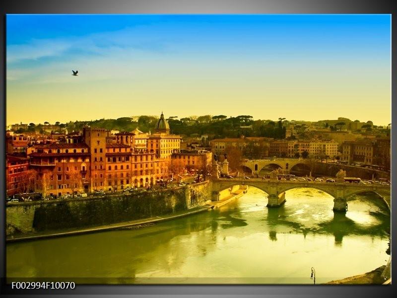 Foto canvas schilderij Uitzicht | Groen, Bruin, Geel