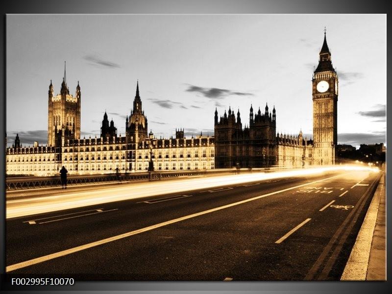 Foto canvas schilderij London | Geel, Grijs, Bruin