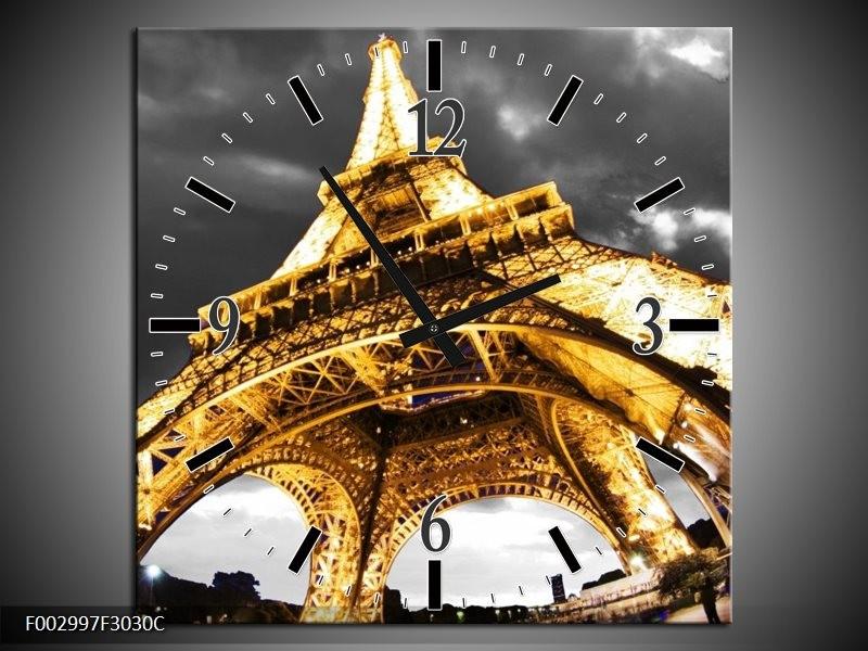 Wandklok op Canvas Eiffeltoren | Kleur: Geel, Zwart, Grijs | F002997C