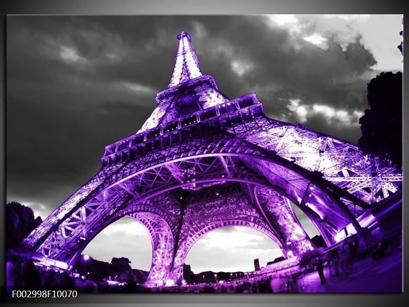Foto canvas schilderij Eiffeltoren | Paars, Zwart, Grijs
