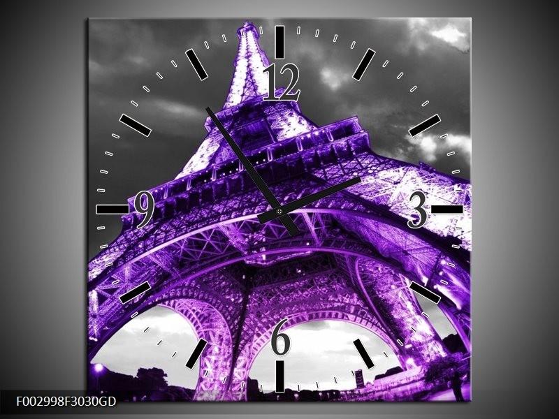 Wandklok op Glas Eiffeltoren | Kleur: Paars, Zwart, Grijs | F002998CGD
