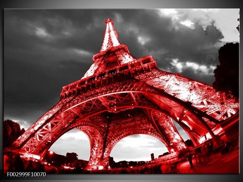 Foto canvas schilderij Eiffeltoren   Rood, Zwart, Grijs
