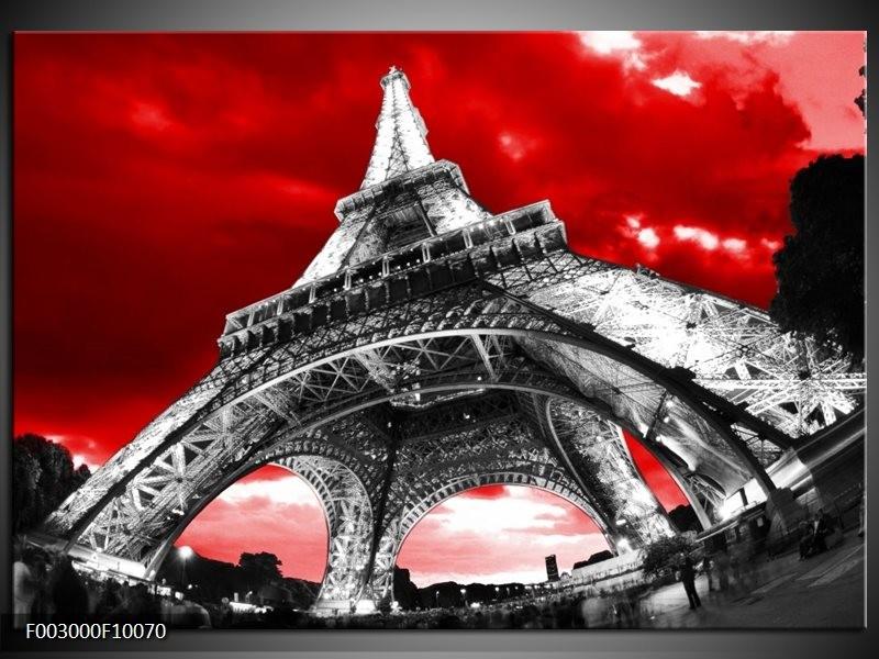 Foto canvas schilderij Eiffeltoren | Rood, Zwart, Grijs