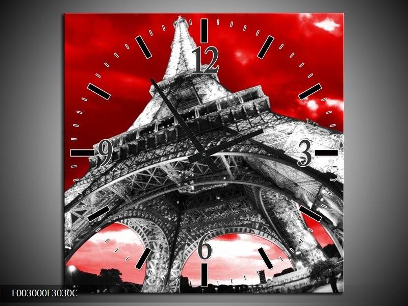 Wandklok op Canvas Eiffeltoren | Kleur: Rood, Zwart, Grijs | F003000C