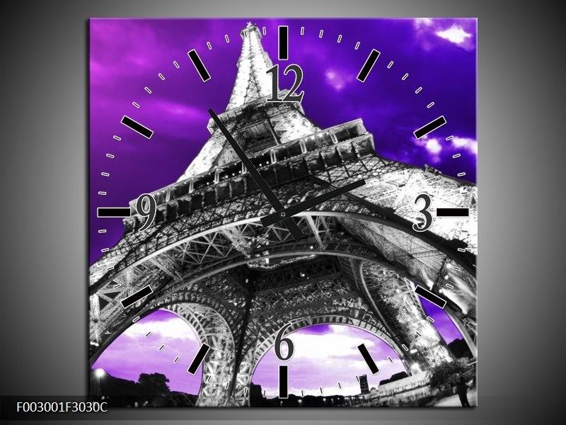 Wandklok op Canvas Eiffeltoren   Kleur: Paars, Zwart, Grijs   F003001C