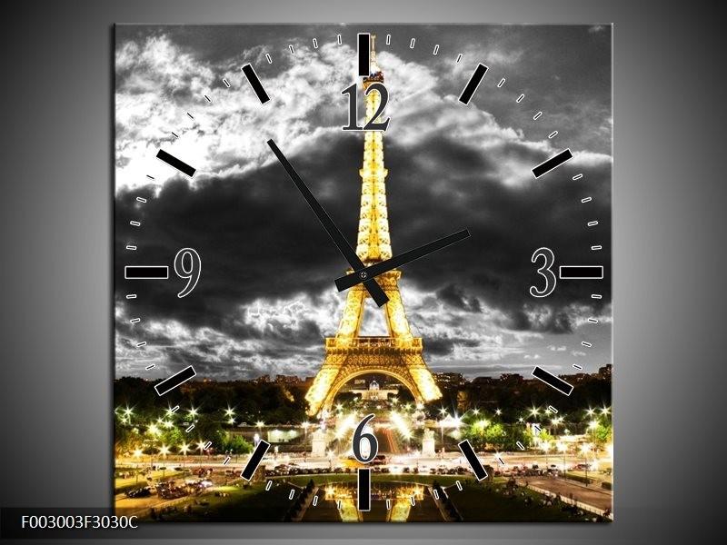 Wandklok op Canvas Eiffeltoren | Kleur: Grijs, Bruin, Zwart | F003003C