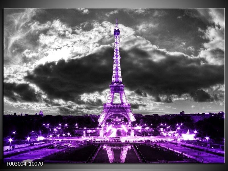 Foto canvas schilderij Eiffeltoren   Grijs, Paars, Zwart