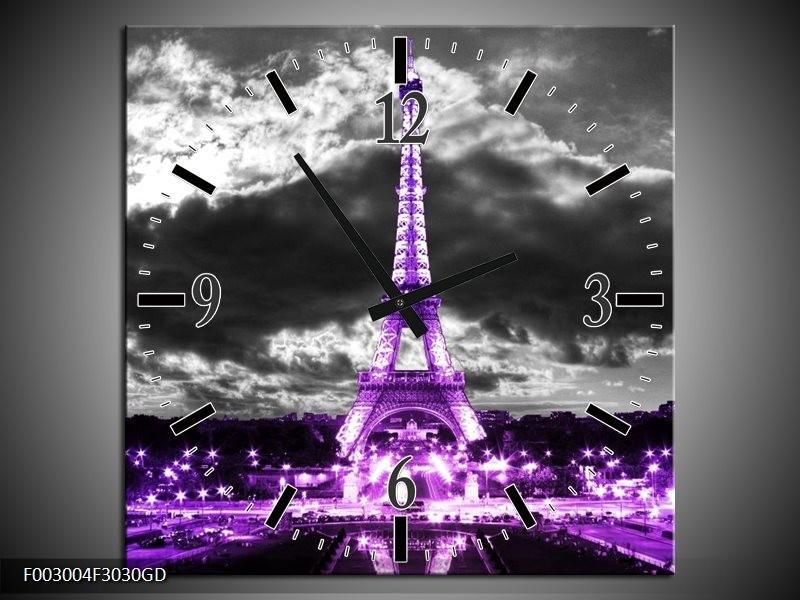 Wandklok op Glas Eiffeltoren   Kleur: Grijs, Paars, Zwart   F003004CGD