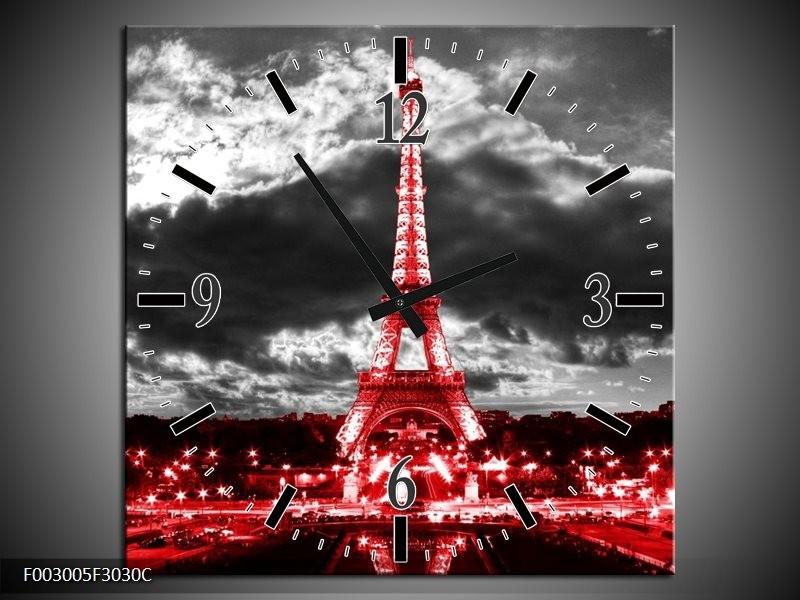 Wandklok op Canvas Eiffeltoren | Kleur: Grijs, Rood, Zwart | F003005C