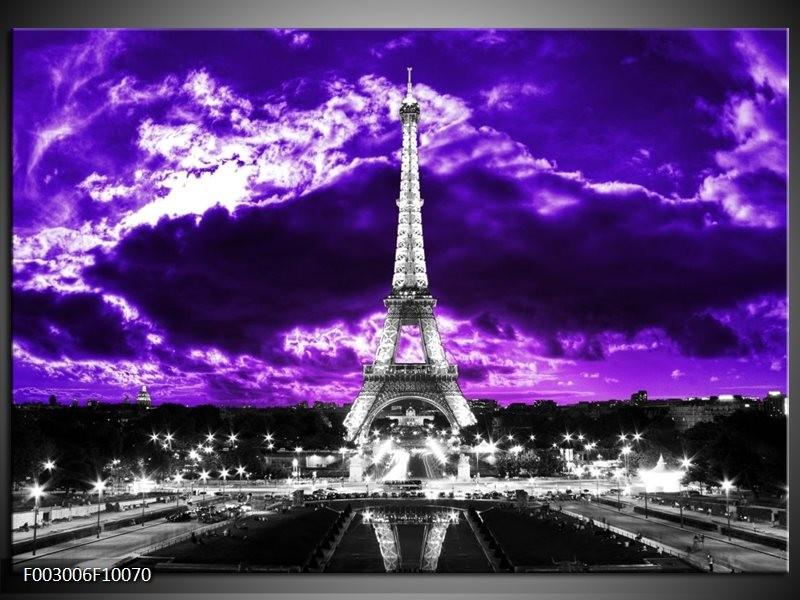 Foto canvas schilderij Eiffeltoren | Grijs, Paars, Zwart