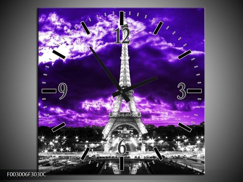 Wandklok op Canvas Eiffeltoren | Kleur: Grijs, Paars, Zwart | F003006C