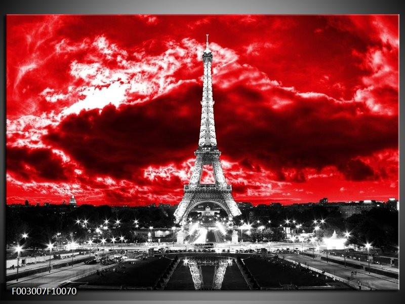 Foto canvas schilderij Eiffeltoren   Grijs, Rood, Zwart