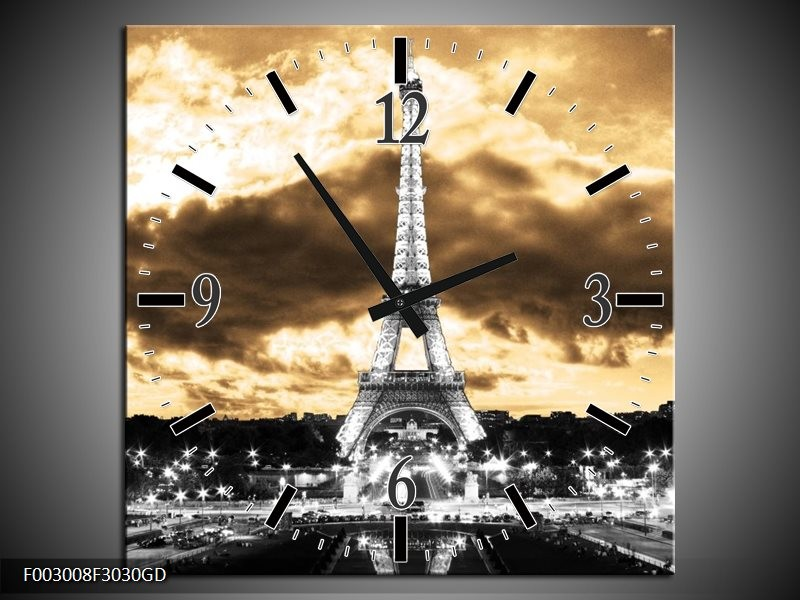 Wandklok op Glas Eiffeltoren | Kleur: Grijs, Bruin, Zwart | F003008CGD