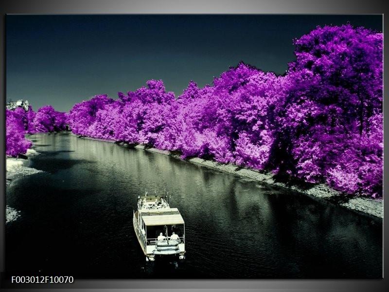 Foto canvas schilderij Boot   Paars, Zwart, Grijs