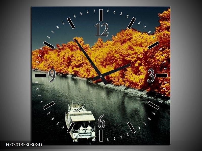 Wandklok op Glas Boot | Kleur: Bruin, Zwart, Grijs | F003013CGD