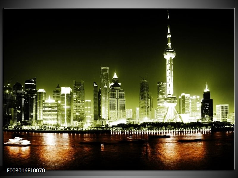 Foto canvas schilderij Nacht | Groen, Bruin, Zwart
