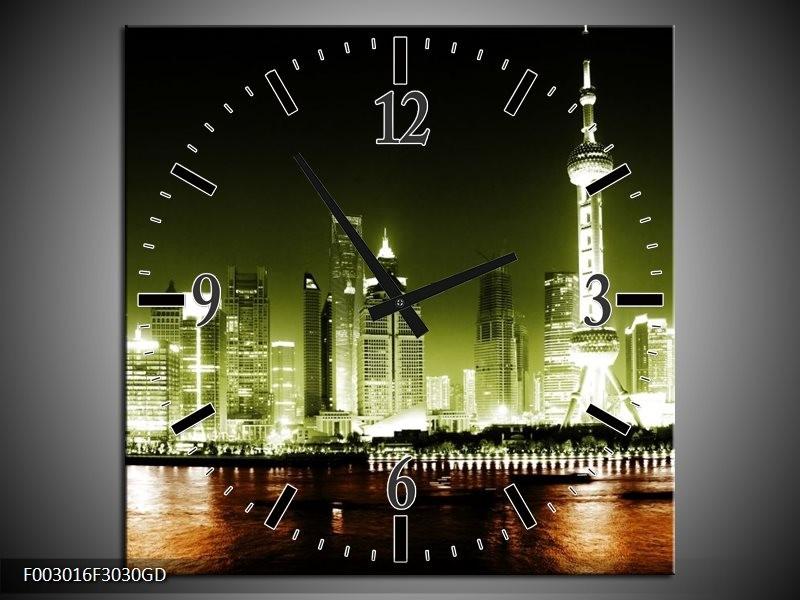 Wandklok op Glas Nacht   Kleur: Groen, Bruin, Zwart   F003016CGD
