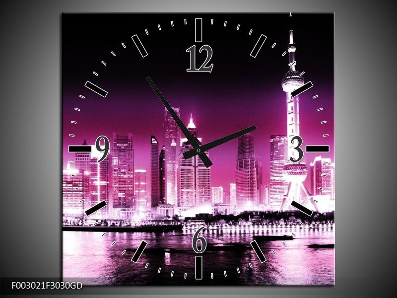 Wandklok op Glas Nacht   Kleur: Paars, Roze, Zwart   F003021CGD