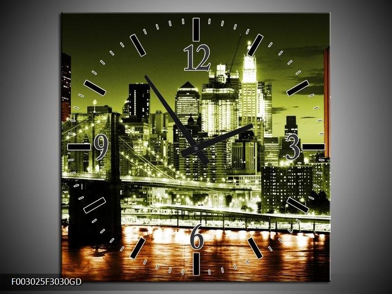 Wandklok op Glas Brug | Kleur: Groen, Bruin, Zwart | F003025CGD