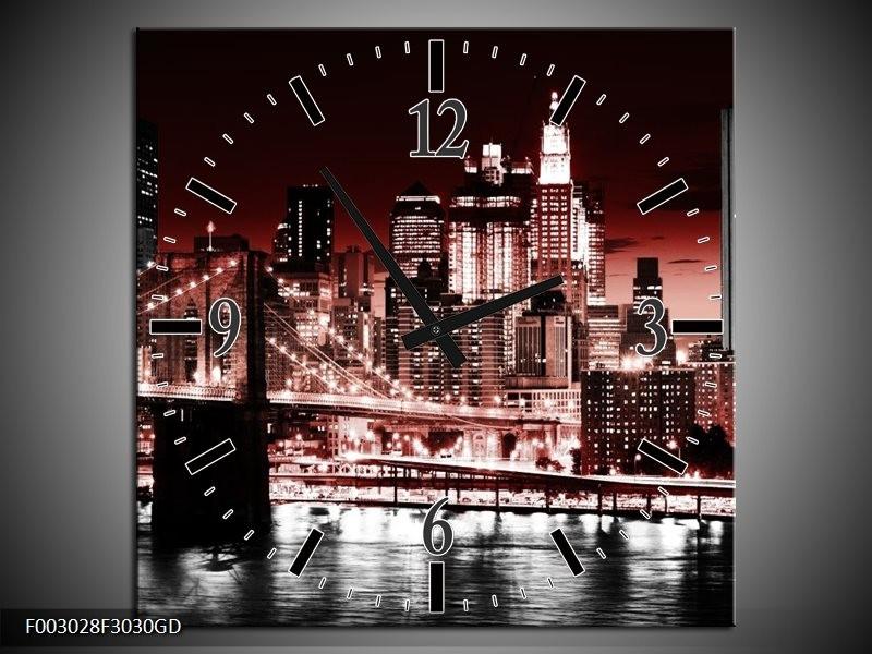 Wandklok op Glas Steden | Kleur: Rood, Zwart, Wit | F003028CGD