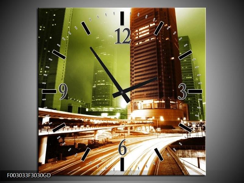 Wandklok op Glas Steden | Kleur: Groen, Bruin, Wit | F003033CGD