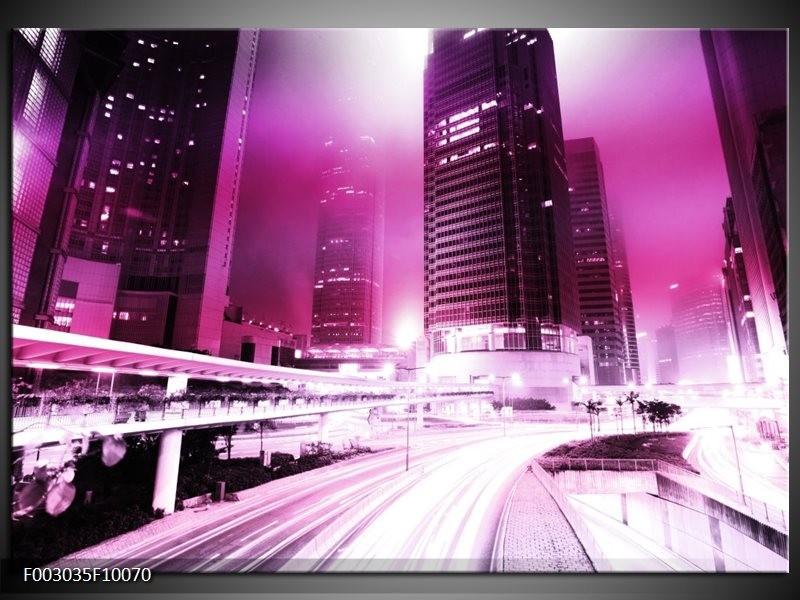 Foto canvas schilderij Nacht | Paars, Roze, Wit