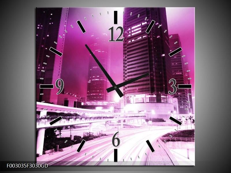 Wandklok op Glas Nacht | Kleur: Paars, Roze, Wit | F003035CGD