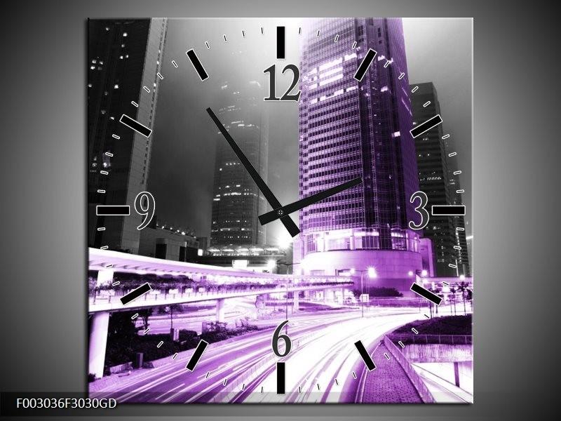 Wandklok op Glas Nacht | Kleur: Grijs, Paars, Zwart | F003036CGD