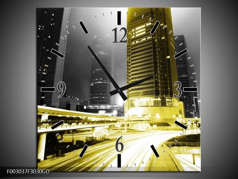 Wandklok op Glas Nacht | Kleur: Geel, Zwart, Groen | F003037CGD