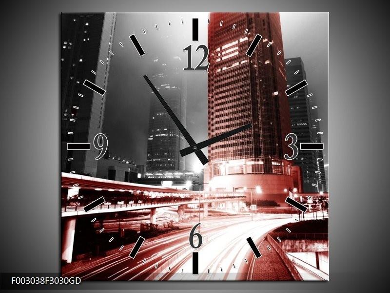 Wandklok op Glas Steden | Kleur: Rood, Zwart, Grijs | F003038CGD