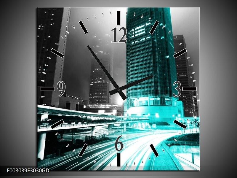 Wandklok op Glas Nacht | Kleur: Groen, Zwart, Grijs | F003039CGD