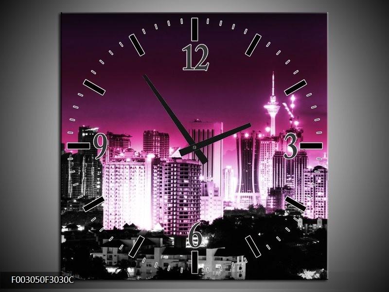 Wandklok op Canvas Nacht | Kleur: Paars, Roze, Zwart | F003050C