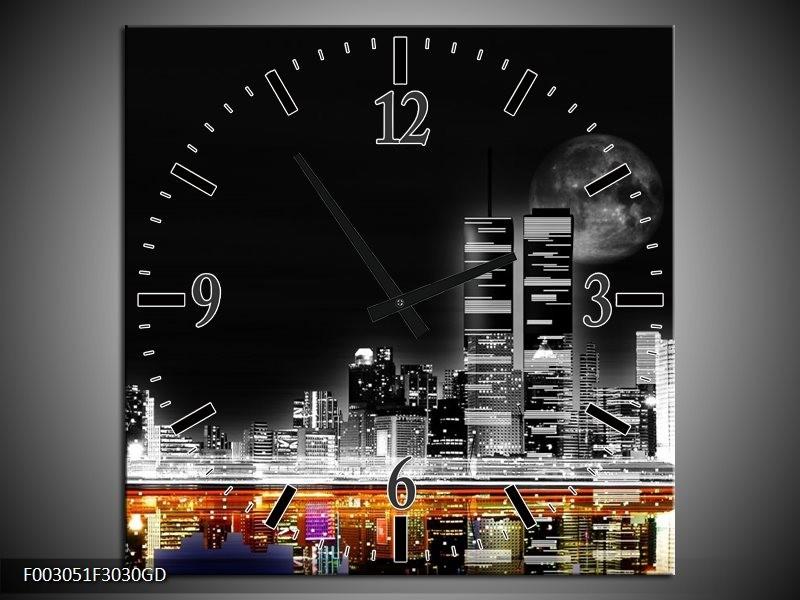 Wandklok op Glas Nacht | Kleur: Grijs, Zwart, Oranje | F003051CGD