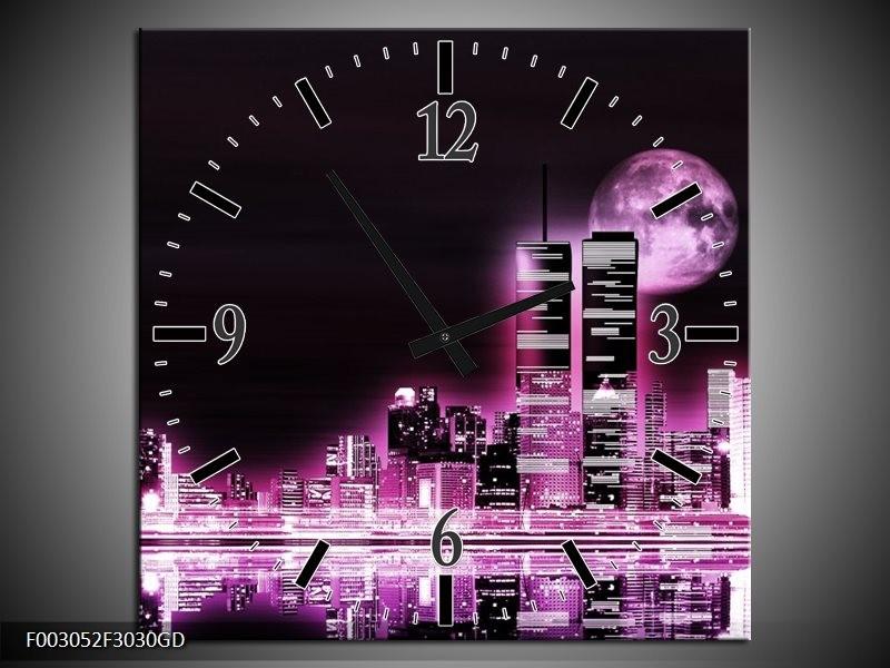 Wandklok op Glas Nacht | Kleur: Paars, Zwart | F003052CGD