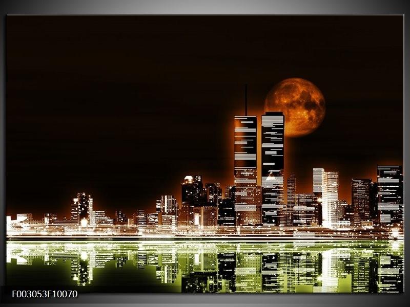 Foto canvas schilderij Nacht | Groen, Bruin