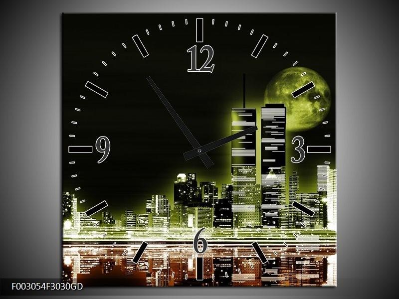 Wandklok op Glas Nacht | Kleur: Groen, Bruin, Zwart | F003054CGD