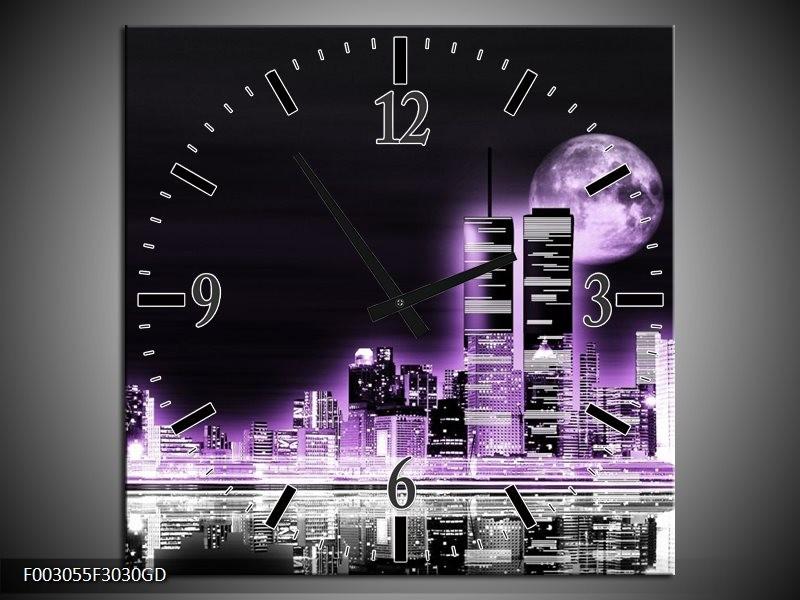 Wandklok op Glas Nacht | Kleur: Paars, Zwart, Grijs | F003055CGD
