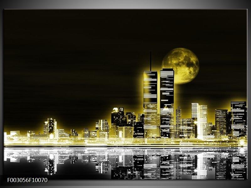 Foto canvas schilderij Nacht | Geel, Zwart, Grijs