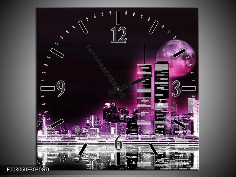 Wandklok op Glas Nacht | Kleur: Paars, Roze, Zwart | F003060CGD