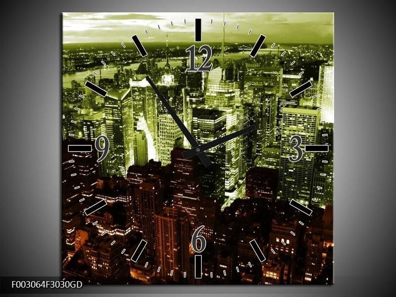 Wandklok op Glas Steden | Kleur: Bruin, Groen, Wit | F003064CGD