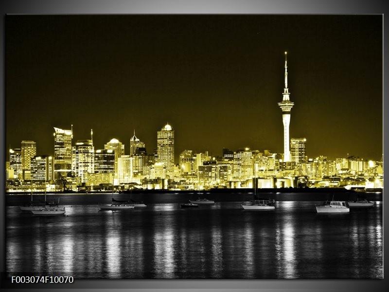 Foto canvas schilderij Nacht | Goud, Zwart, Grijs