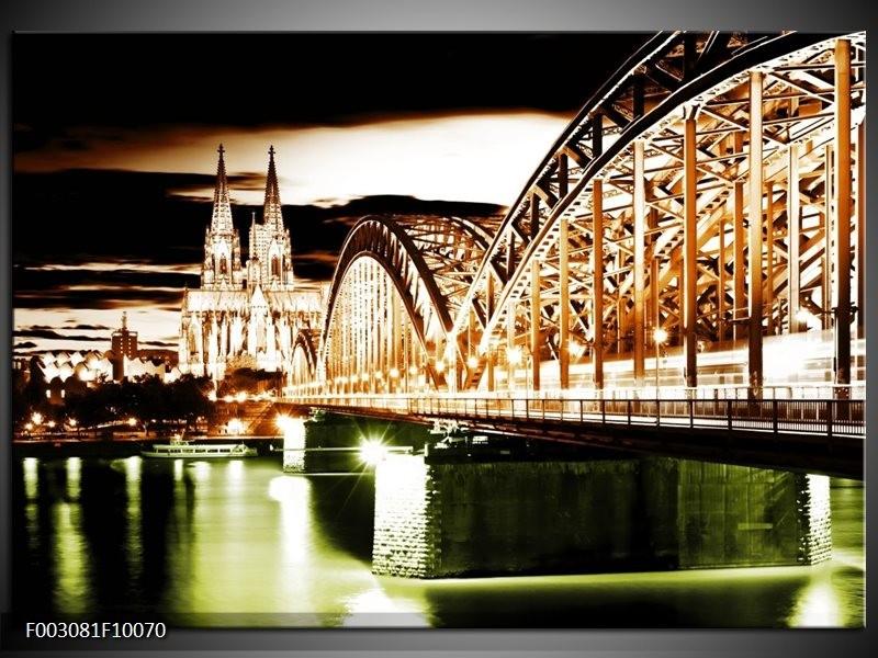 Foto canvas schilderij Brug   Bruin, Groen, Wit