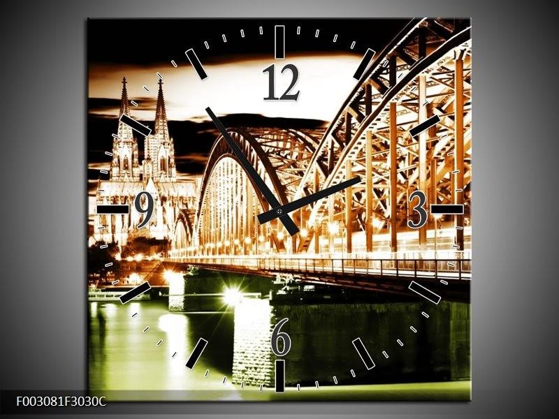 Wandklok op Canvas Brug | Kleur: Bruin, Groen, Wit | F003081C