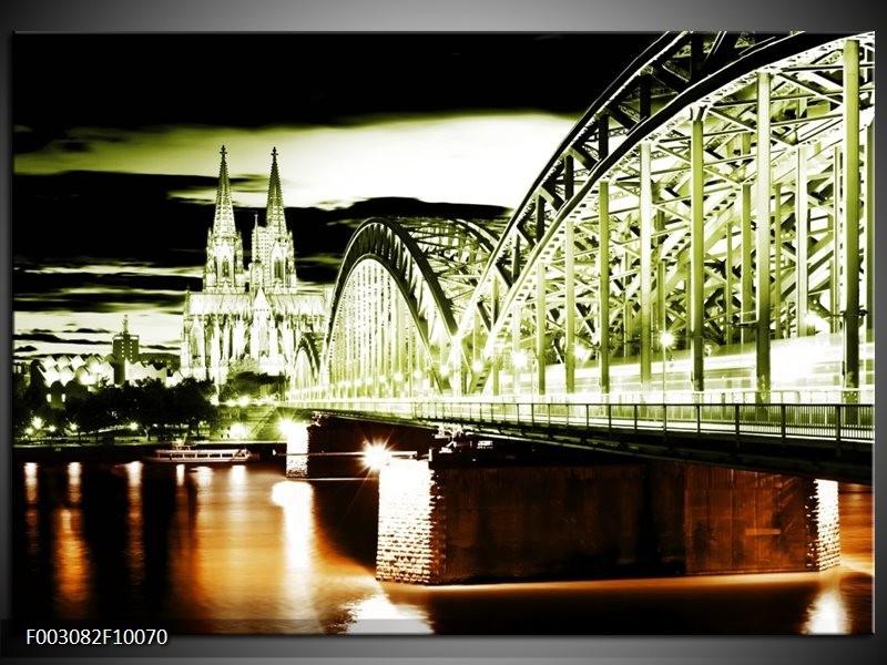 Foto canvas schilderij Brug | Groen, Bruin, Zwart