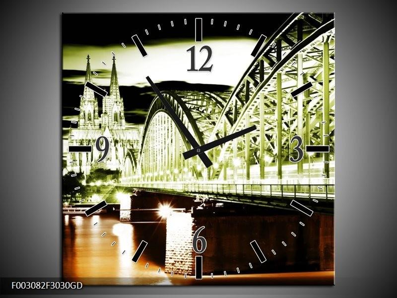 Wandklok op Glas Brug | Kleur: Groen, Bruin, Zwart | F003082CGD
