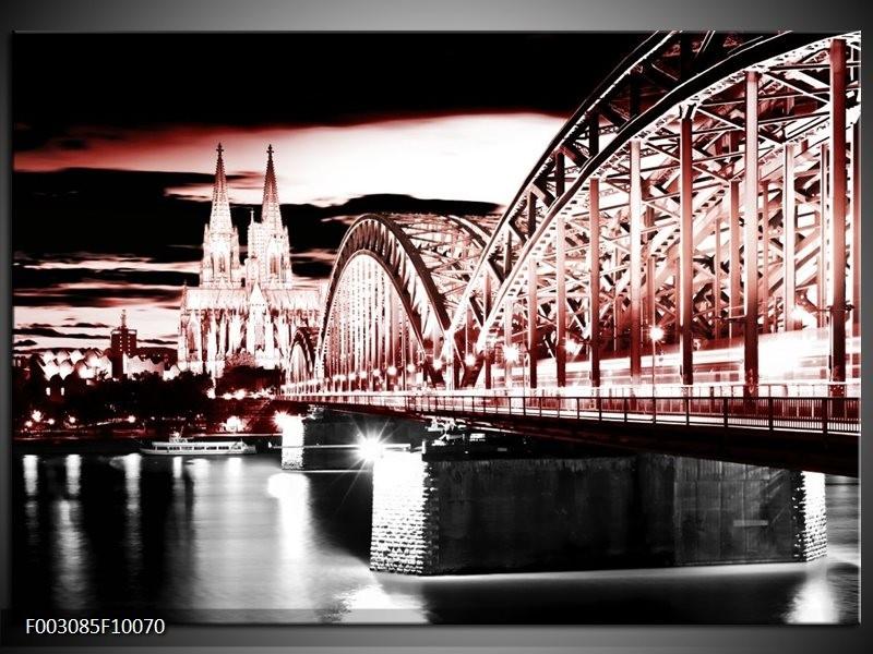 Foto canvas schilderij Brug   Rood, Zwart, Wit