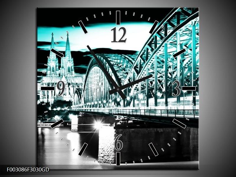 Wandklok op Glas Brug | Kleur: Groen, Zwart, Grijs | F003086CGD