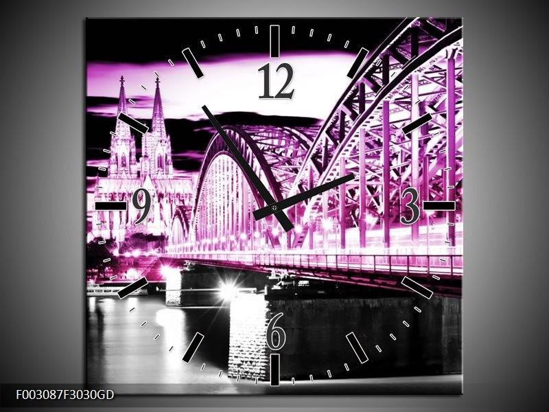 Wandklok op Glas Brug | Kleur: Paars, Zwart, Grijs | F003087CGD