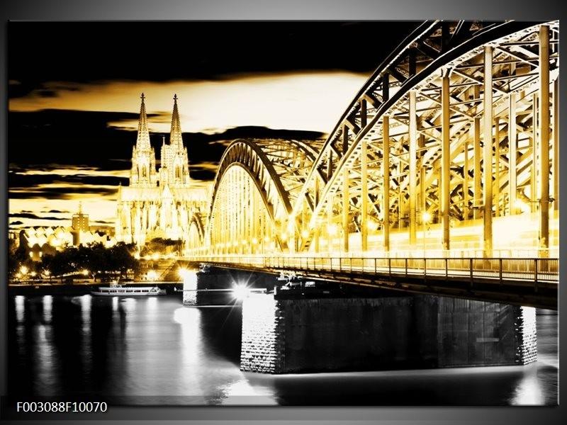 Foto canvas schilderij Brug | Geel, Zwart, Grijs